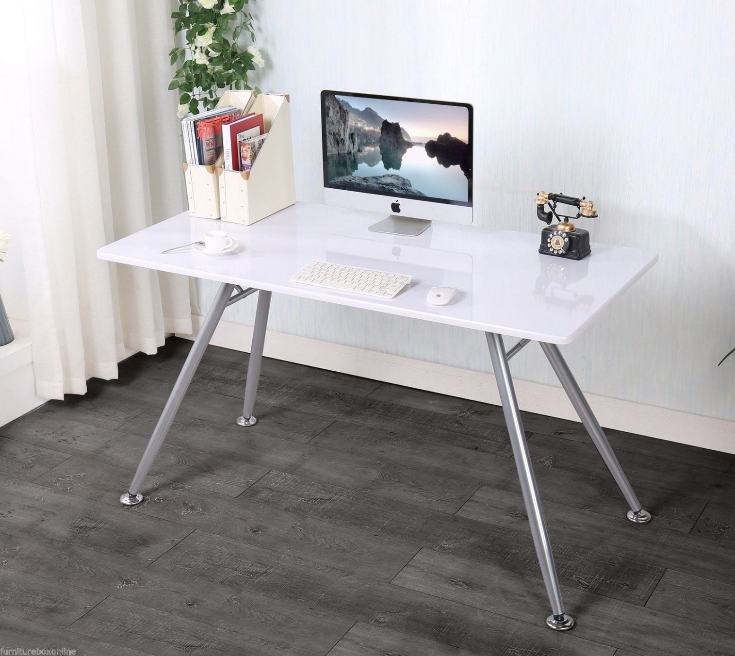 White High Gloss Office Desk   Real Wood Home Office Furniture Check More  At Http: