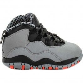 00d0432ad25289 Air Jordan Retro 10 Infant Toddler Lifestyle Shoe (Grey Black Red ...