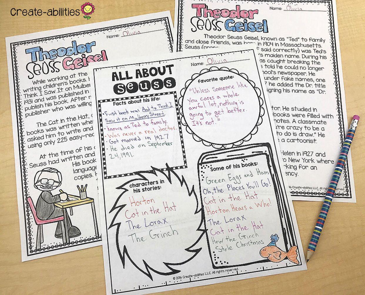 Dr Seuss Author Study