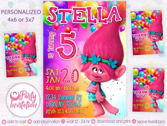 Trolls Invitation And Free Thank You Cards Troll Birthday Invitations Princess Poppy Di
