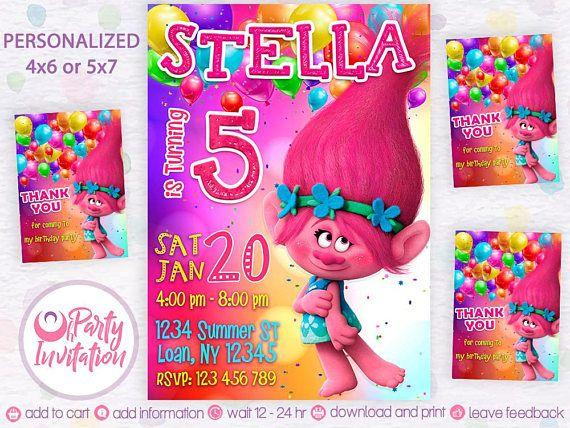 Trolls Invitation And Free Thank You Cards Troll Birthday Invitations Princess Poppy Digital