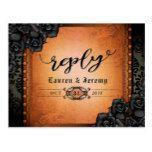 Halloween Black & Orange Gothic Reply PostCard  Halloween Black & Orange Gothic Reply PostCard  $1.05  by juliea2010   More Designs http://bit.ly/2g4mwV2 #zazzle