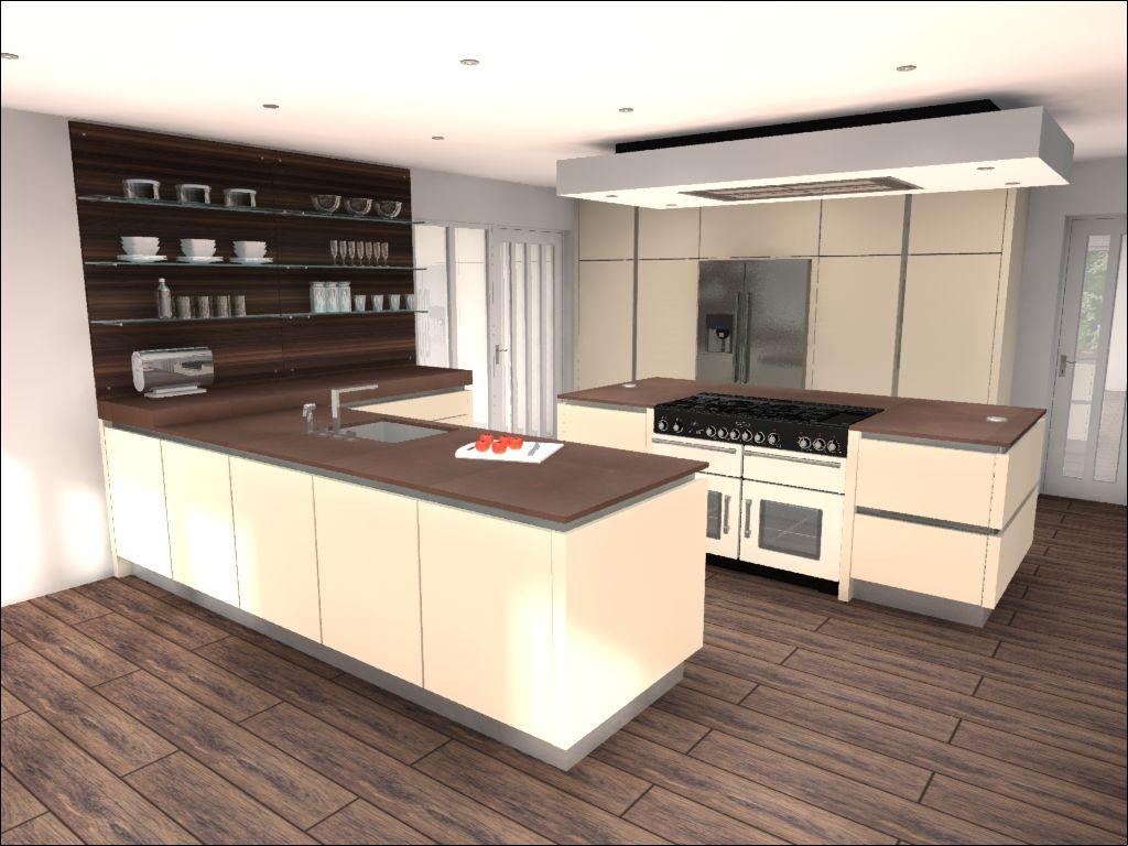 Contemporary Matt Cream Handleless Kitchen Design With Range Cooker In  Island