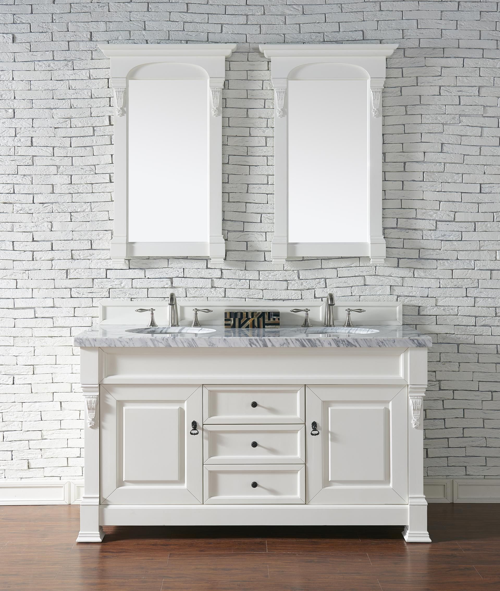 brookfield 60 double sink bathroom vanity cabinet cottage white rh pinterest com Craftsman Style Bathroom Vanity Cabinets Farmhouse Bathroom Vanity Cabinets