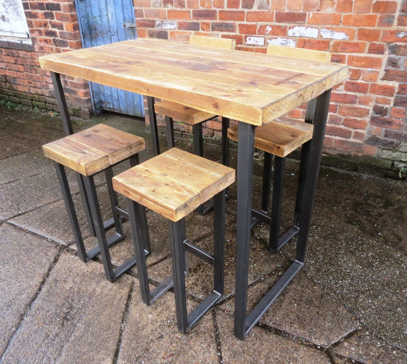 Reclaimed Industrial 4 Seater Chic Tall Poseur Table Bar Cafe