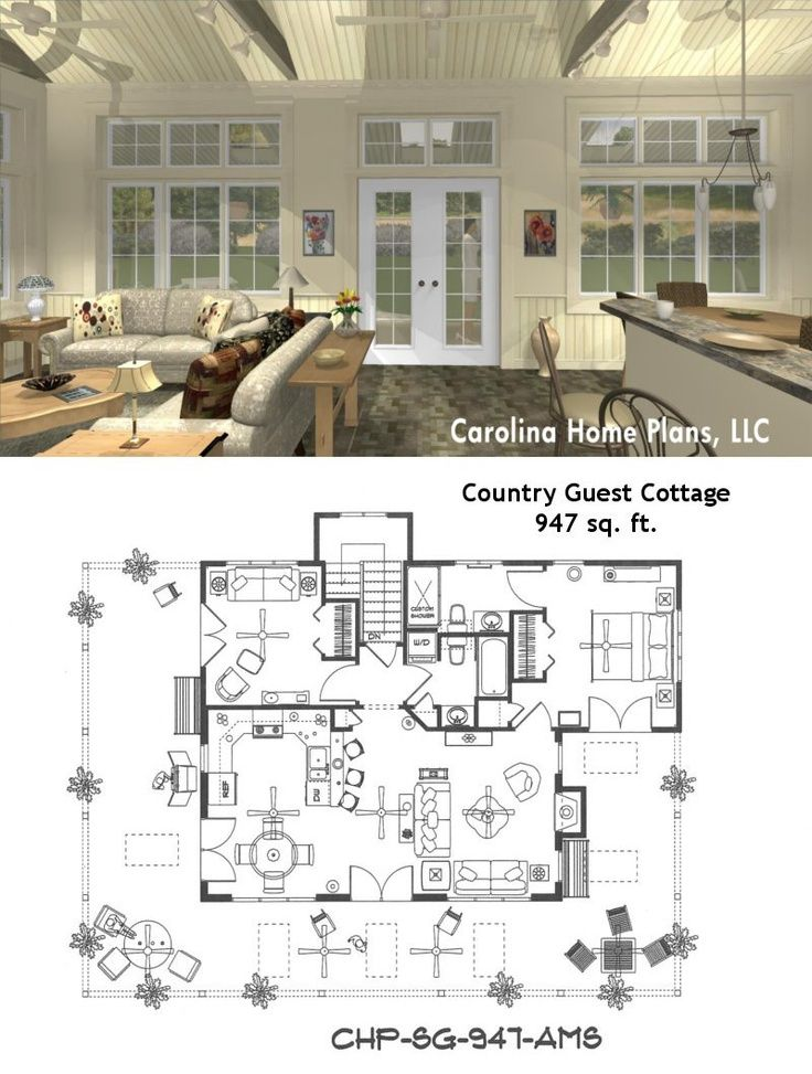 3d Images For Chp Sg 947 Ams Small Country Guest Cottage 3d House Plan Views House Floor Plans House Plans Cottage Plan