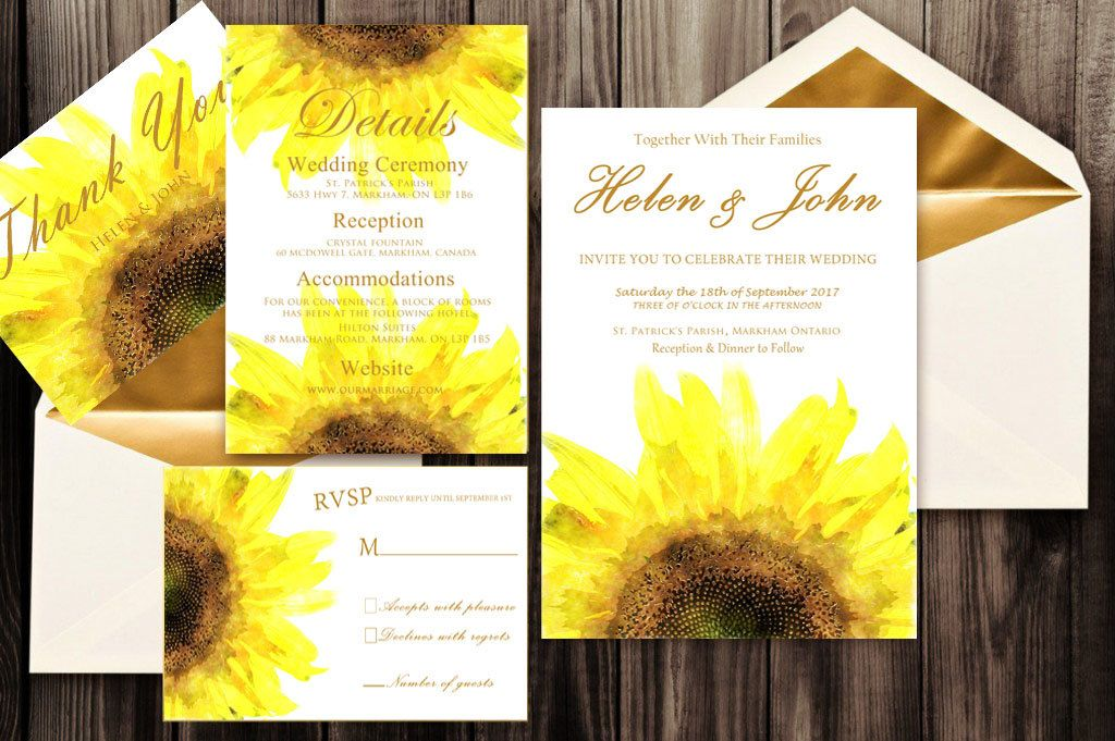 sunflower wedding invitations printable%0A Wedding Invitation Sunflowers printable wedding invitation set floral wedding  invitation details rvsp thank you custom wedding invitations by S Sta u