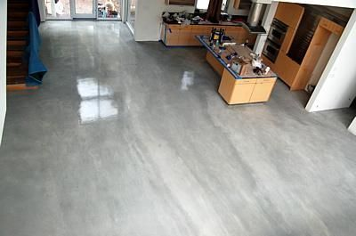 Grey Streaked Concrete Floors Elton John Designs Bradenton FL Marsh House Basement