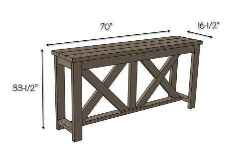X Brace Console Table Dimensions