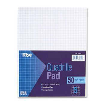 Quadrille Pads, 5 Squares/inch, 8 1/2 X 11, White, 50 Sheets