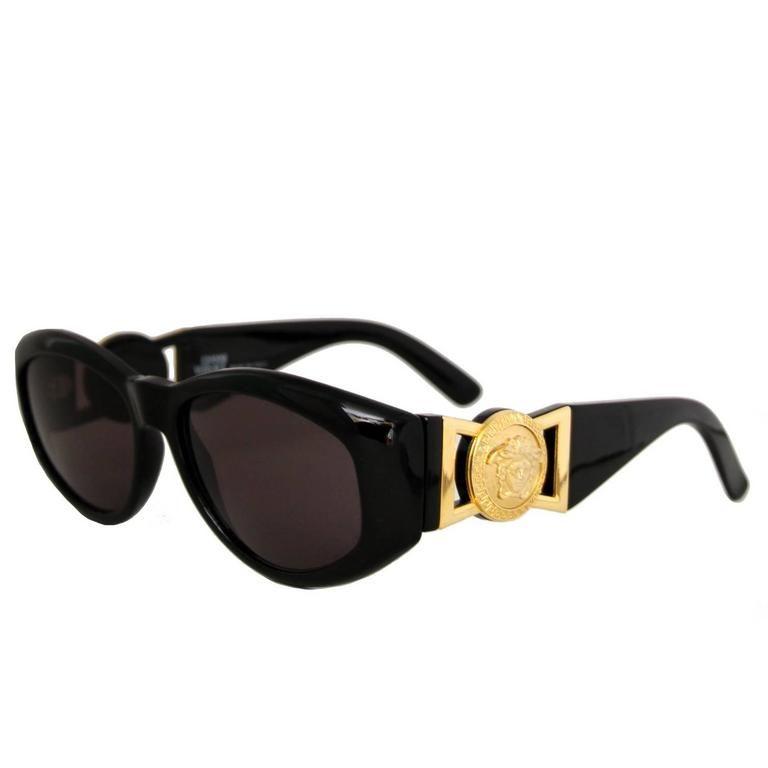 00aec2db5693 90s Gianni Versace Black Sunglasses w. Gold Medusa in 2019 | black ...