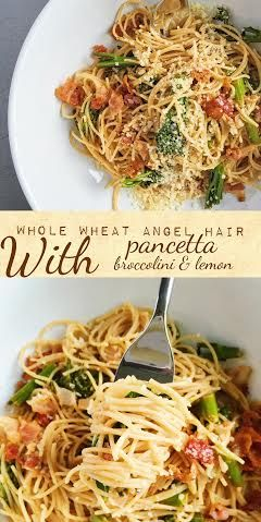 Whole Wheat Angel Hair with Pancetta and Broccolin