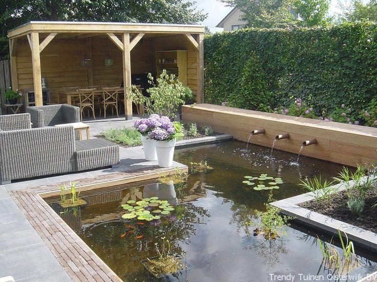 Afbeeldingsresultaat voor stadstuin met terras en vijver tuin pinterest tuinhuis terras - Idee terras ...