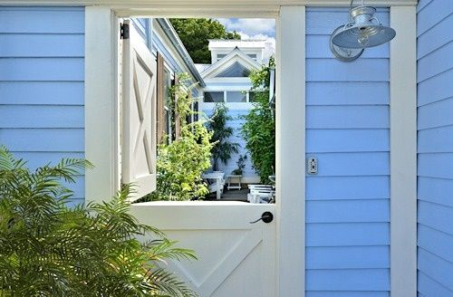 Periwinkle Peek-a-boo doorway leads to adorable 'Key West Little Digs' #Key West rental studio cottage. Perfect for one or two. Inquire @ www.vhkw.com