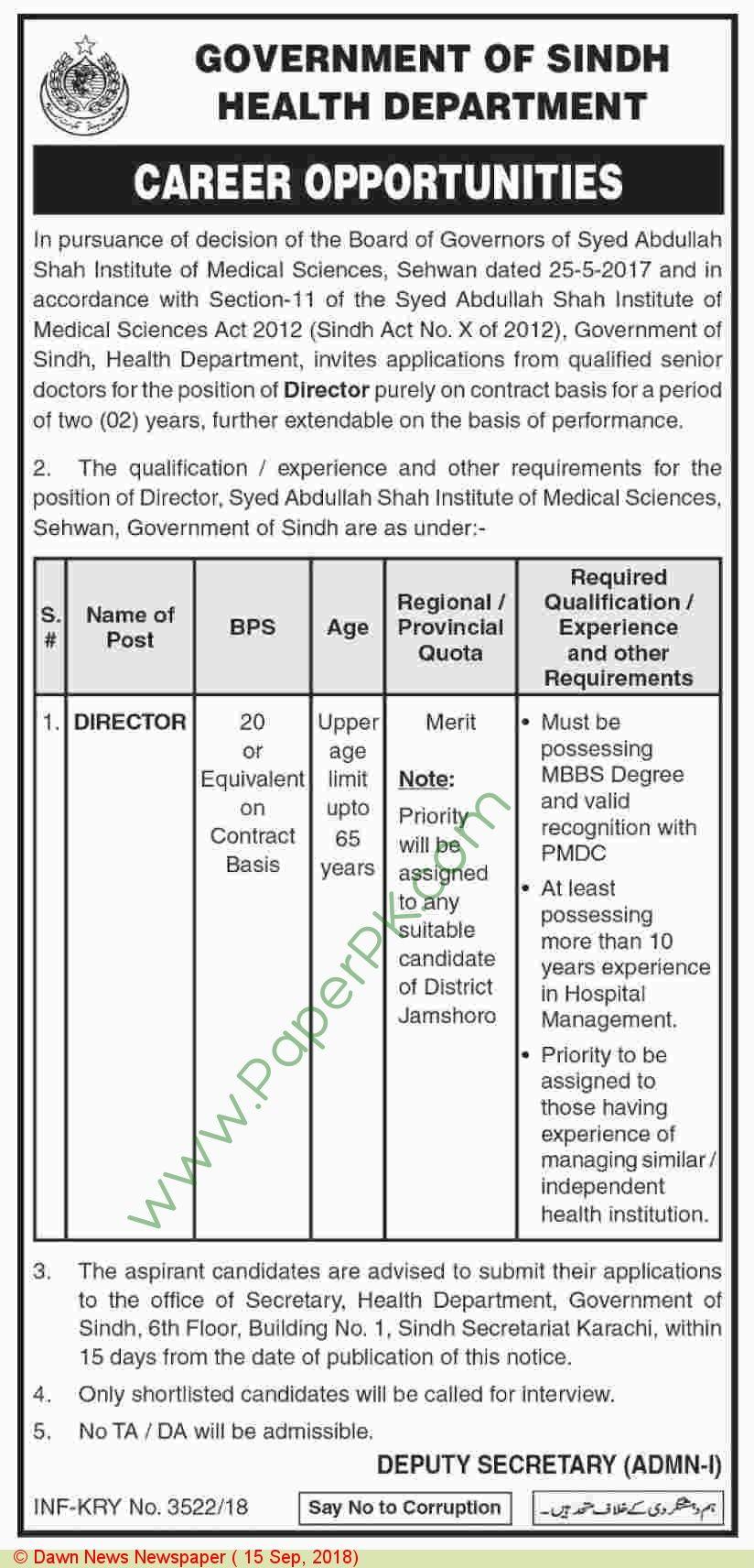 health department karachi Sindh jobs 2018 Health