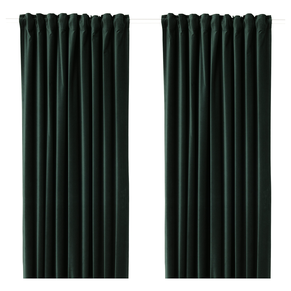 Sanela Room Darkening Curtains 1 Pair Dark Green 55x98 Ikea Dark Green Rooms Room Darkening Curtains Room Darkening