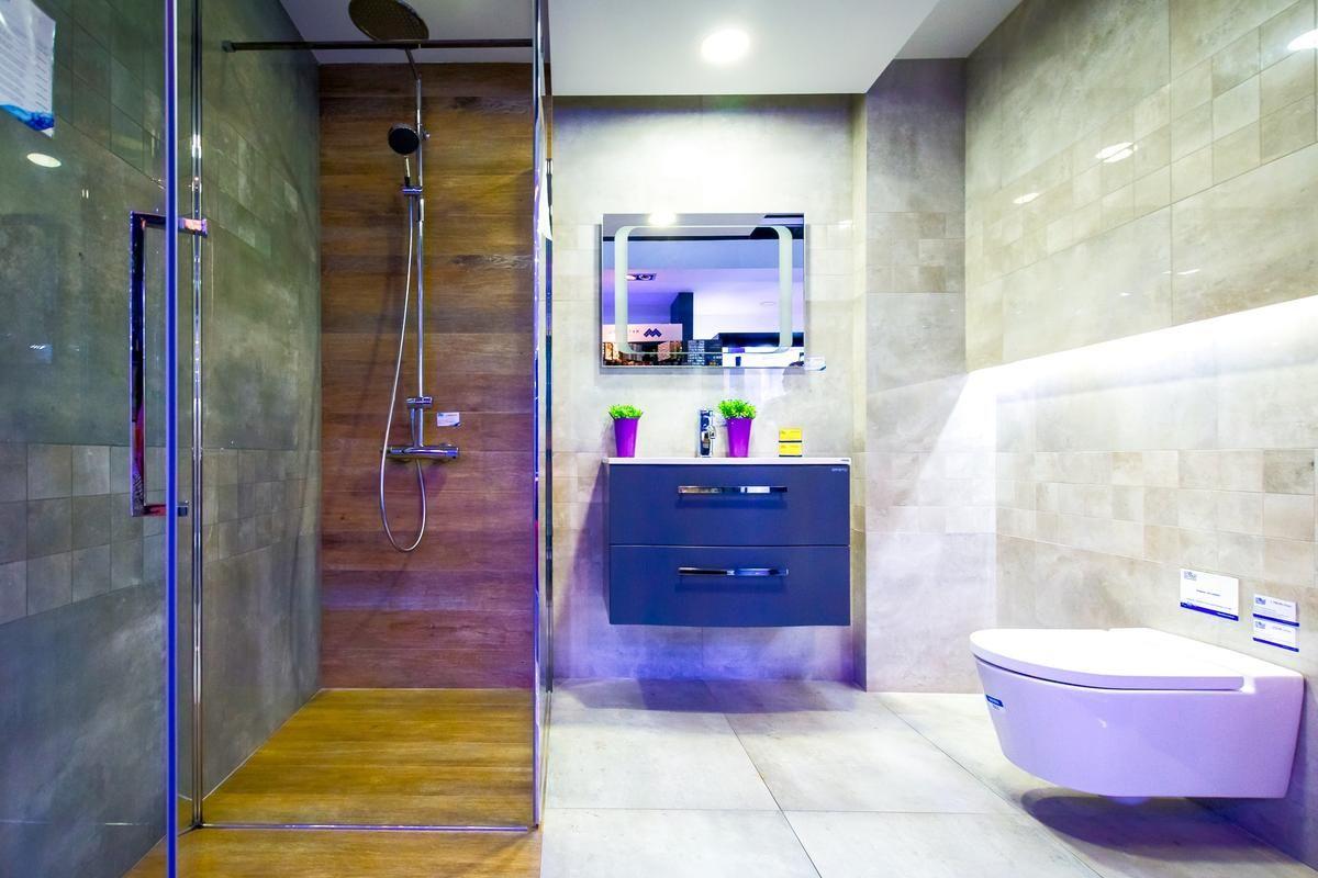 Meble łazienkowe Oristo Wave Szaro Drewniana łazienka