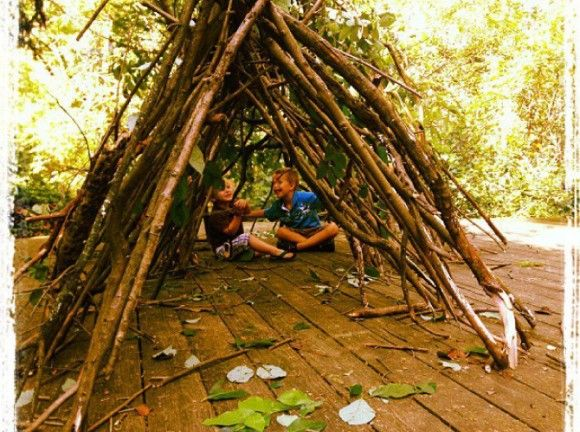 How to Build a Stick Fort   Outdoor forts, Backyard fort ...