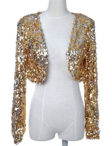 PrettyGuide Women DS Clubwear Sparkly Sequin Long Sleeve Cropped ...