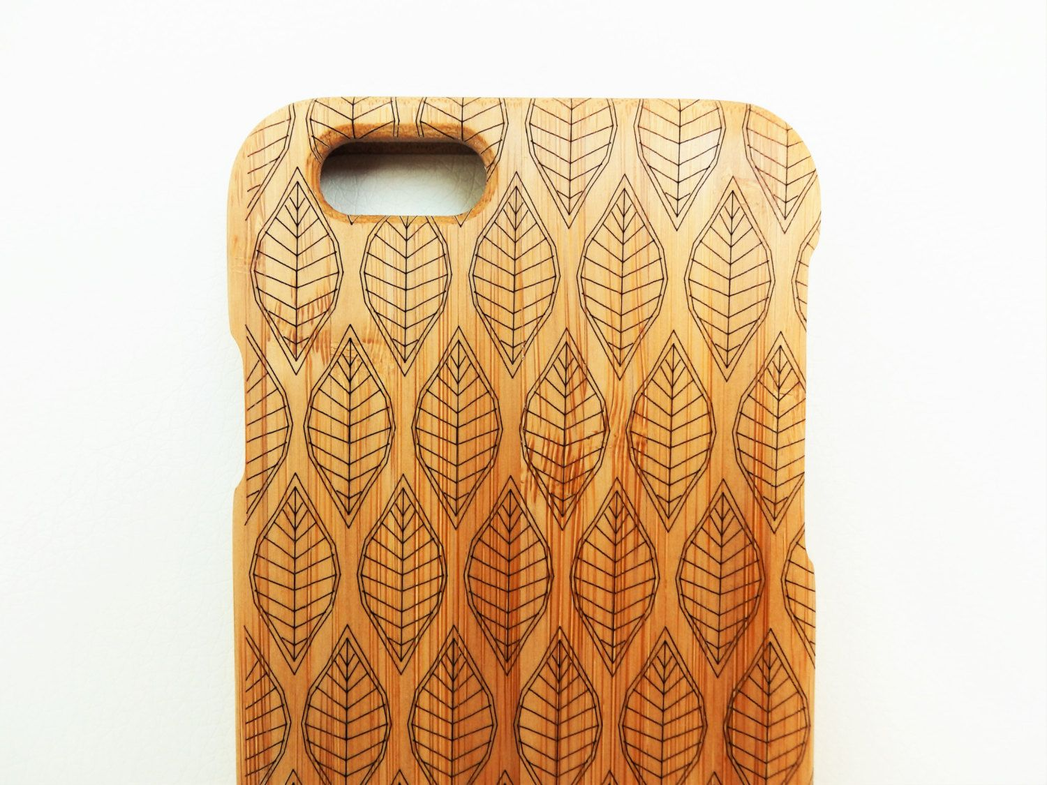 Wooden Phone Case Leaf Design Laser Etched Bamboo Iphone 6 By Ellamademe On Etsy