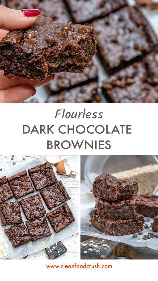 Double Dark Chocolate Brownies -  These Flourless Double Dark Chocolate Brownies are Clean Eating A