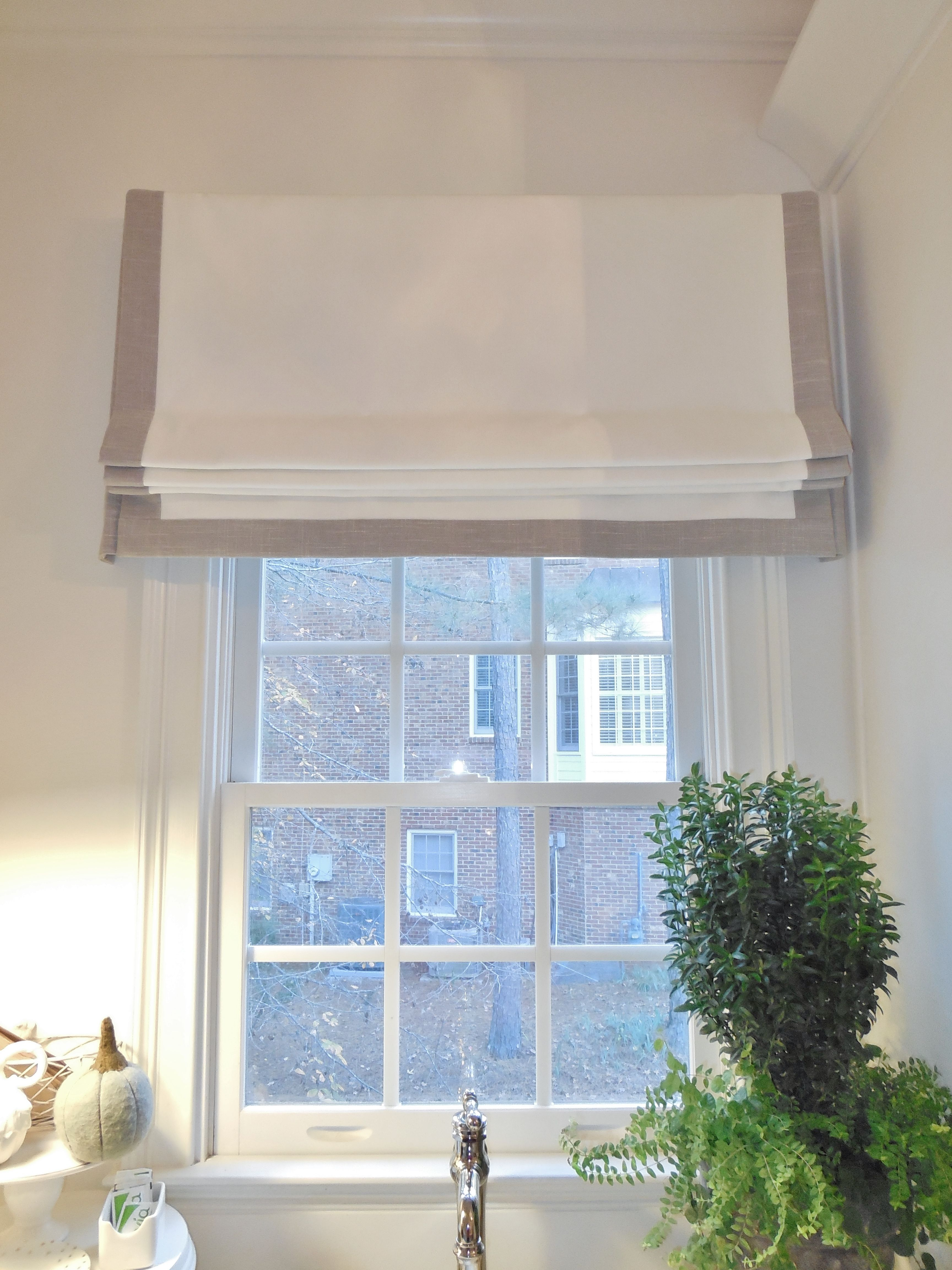 Banded Faux Flat Roman Shade This Was The Perfect Choice For This Laundry Room Window Treatments Living Room Flat Roman Shade Small Bathroom Window