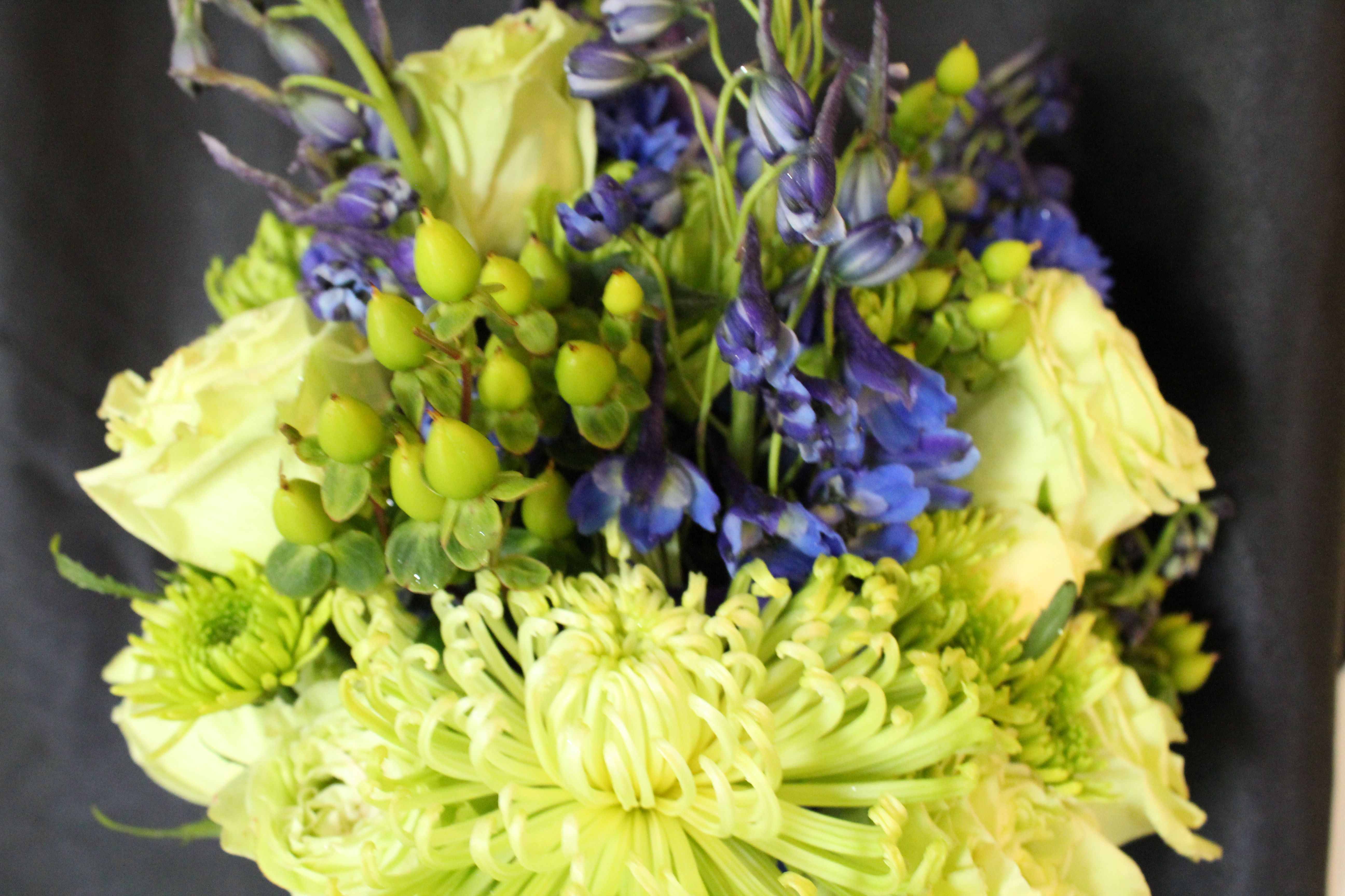 Lime Green with blue accent, mixed flower bouquet...Scent From ...
