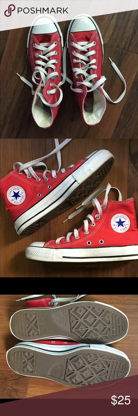 Converse All Star High Tops Red Converse All Star High Tops. Classic, authentic style. Worn, with normal wear. Women's size 5 1/2. Converse Shoes Athletic Shoes