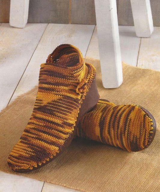 Patrón #536: Botines en punto bajo a Crochet #ctejidas http://blgs ...
