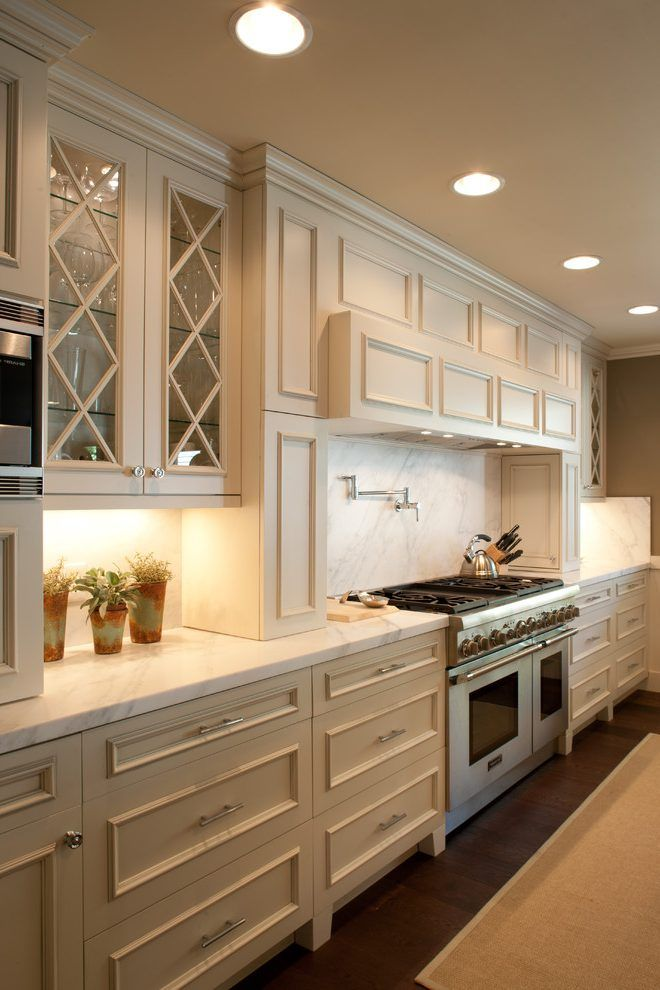 Beige Cabinets Kitchen Contemporary With Recessed Lights Marble Counters