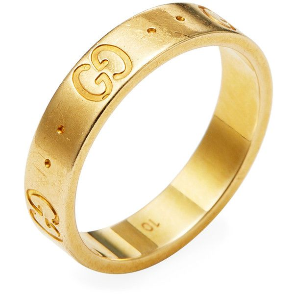 962128fa3 Gucci Women's Vintage Gucci 18K Yellow Gold Logo Thin Band Ring -... (