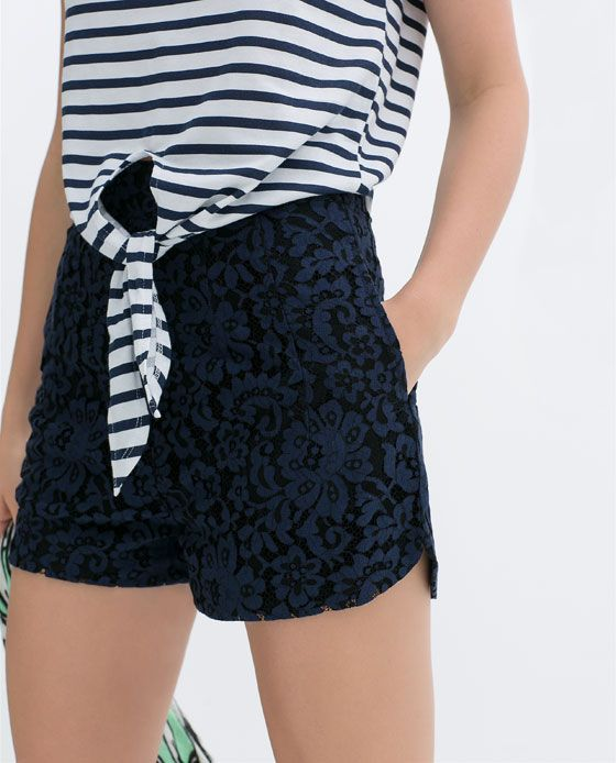 Image 6 Of High Waist Lace Shorts From Zara High Waisted Lace Shorts Lace Shorts Fashion