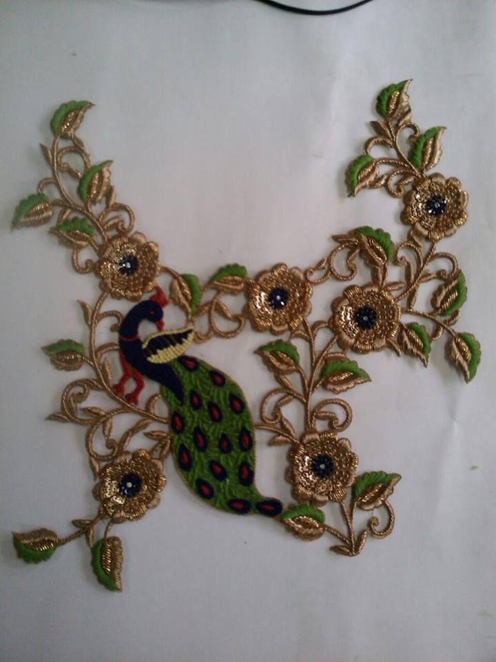 peacock zardosi patch   hand embroidery   Pinterest   Bordado ...