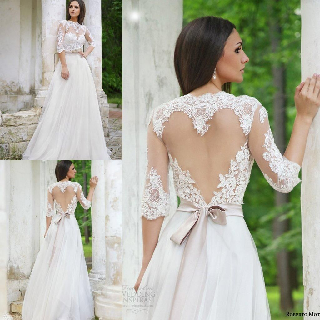 Simple Elegant Open Back Long Sleeve Wedding Dress: Elegant 2016 Lace Wedding Dresses Half Sleeves High Neck