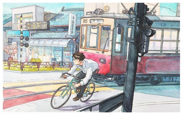 Bicycle Boy in Japan – Une jolie série de peintures aquarelles par Mateusz (image)