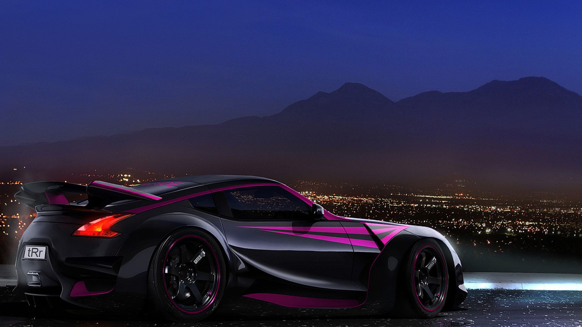 Hot Custom Car Nissan 370Z Sport Style Black And Purple Line Paint