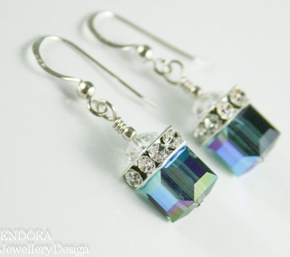 bc1579a91 Blue crystal earrings,Swarovski cube earrings,Silver Cube earring,Montana  Blue earrings,crystal cube