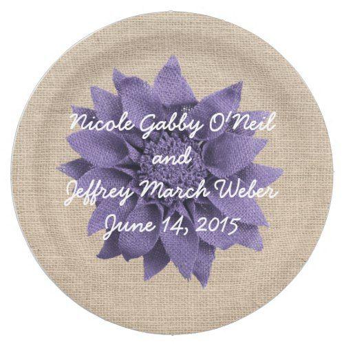 Rustic Burlap Lavender Flower Wedding Paper Plate | Lavender flowers ...