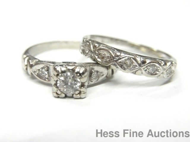 Genuine 1950 S Vintage 14k White Gold Diamond Wedding Engagement Rings Wedding Rings Vintage Vintage Engagement Wedding Rings Wedding Rings Engagement