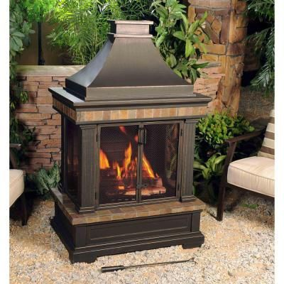 Sunjoy Amherst 35 In Wood Burning Outdoor Fireplace L Of082pst 3 The Home Depot Outdoor Gas Fireplace Outdoor Fireplace Fireplace Kits
