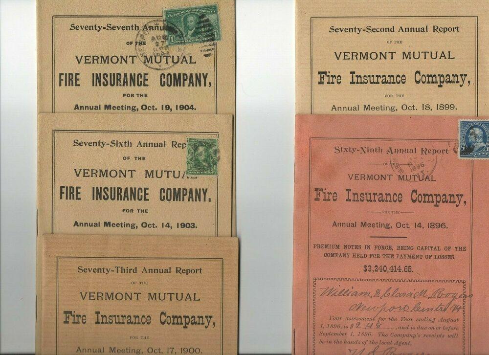 Ephemera 5 vintage 19861906 vermont mutual fire insurance