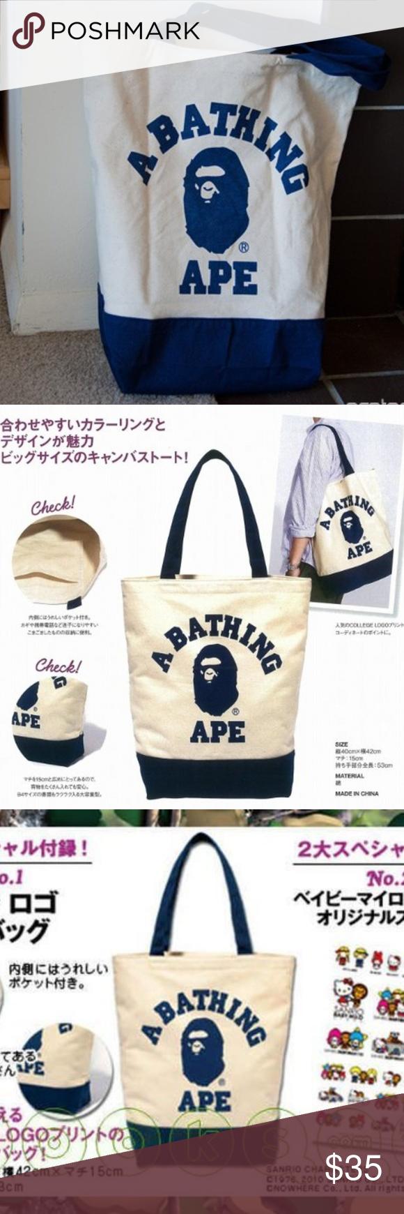 8a9d42fa1b5a New A Bathing Ape Bape Canvas Tote shoulder Bag Quantity  1 unit Bag  size 15.8