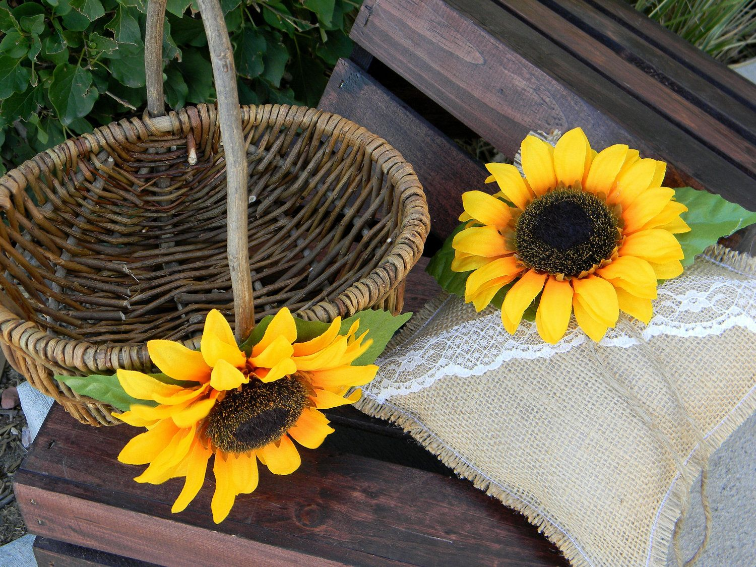 Flower Girl Basket & Wedding Ring Pillow Set Sunflower Rustic. $50.00, via Etsy.