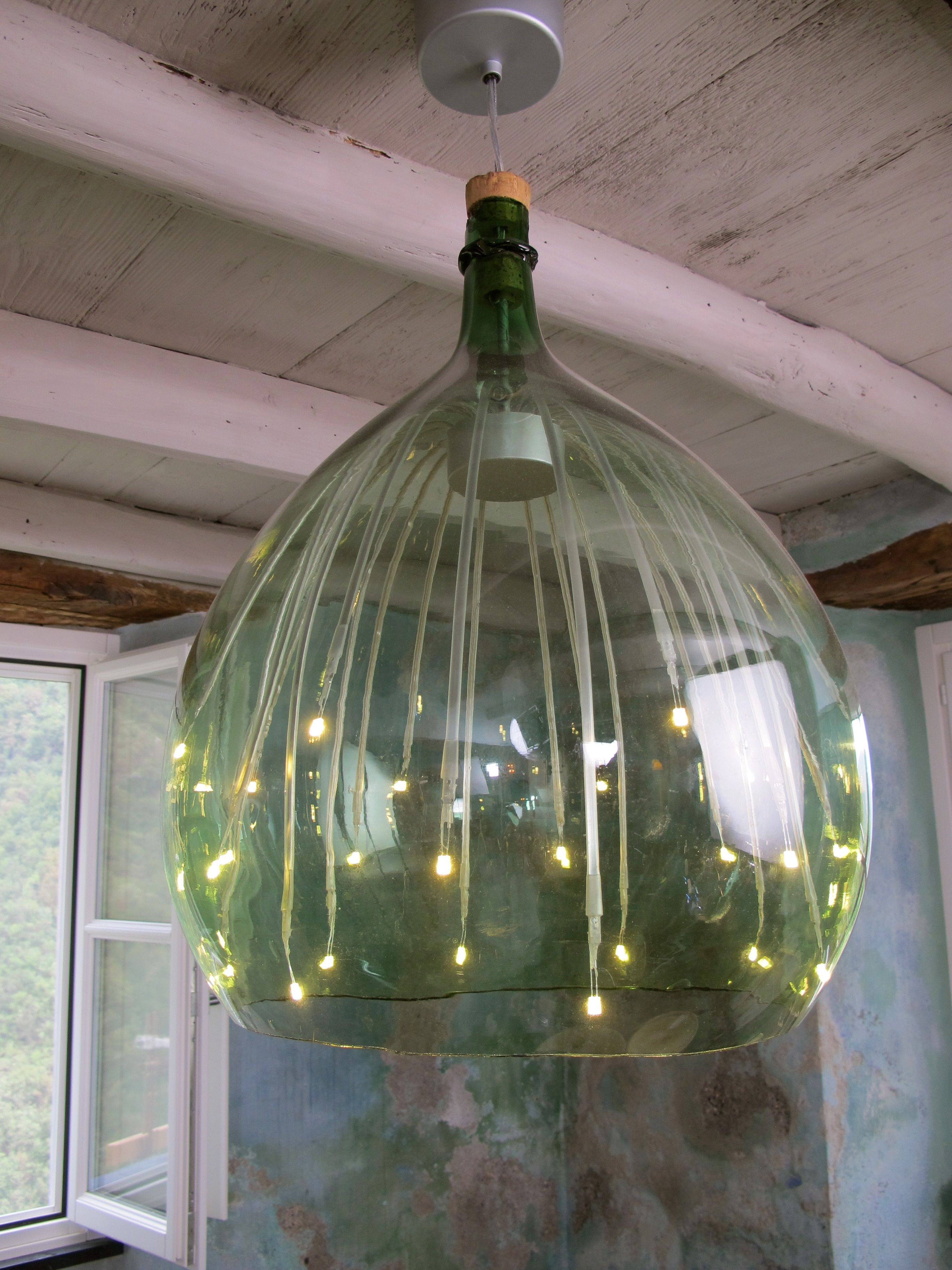 Beautiful Pendant Light Created From Old Wine Bottle The