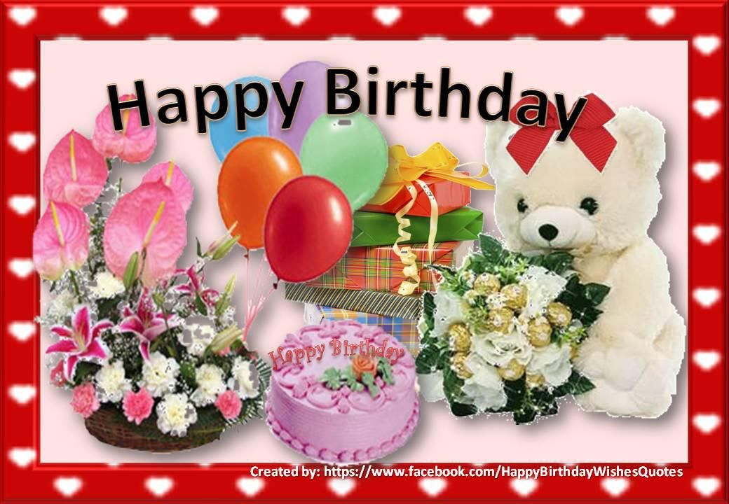 Beautiful birthday card with flowers balloons gifts and