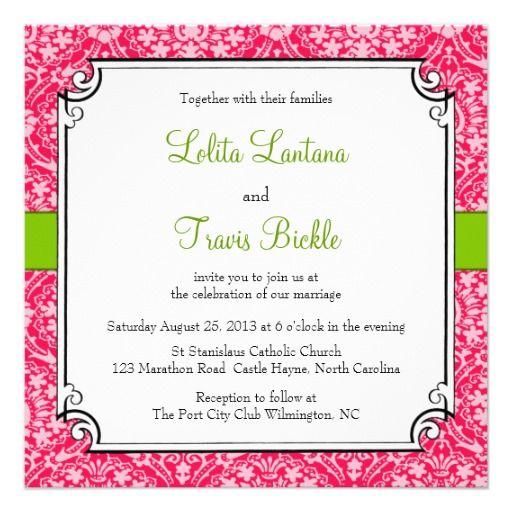 Pink And Green Damask Wedding Invitation