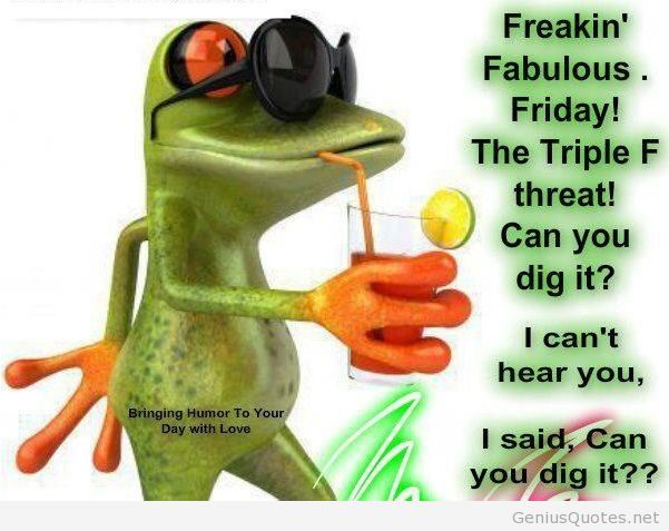 Funny friday quote image with frog Its friday quotes