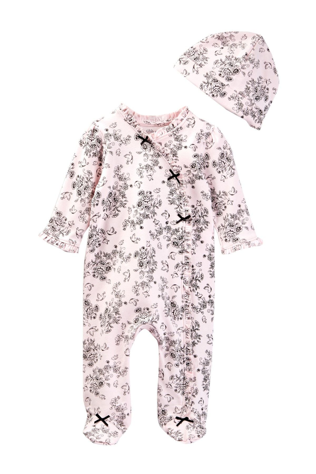 Little Me - Bird Toile Footie & Hat 2-Piece Set (Baby Girls) at Nordstrom Rack. Free Shipping on orders over $100.