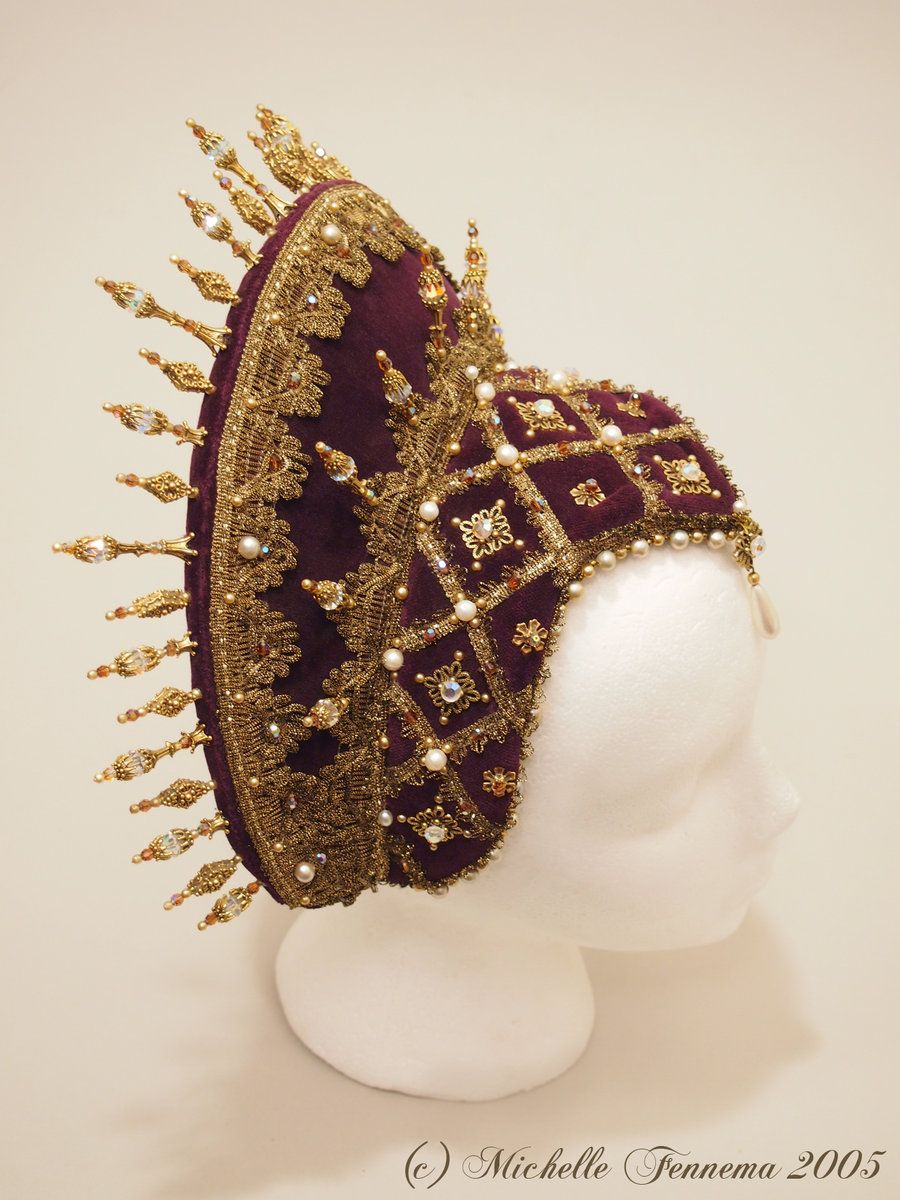 Aurora--Eggplant velvet, gold metallic trim, freshwater pearls, vintage crystals, swarovski crystals, gold findings.  French hood designed and created by Michelle Fennema 2005.