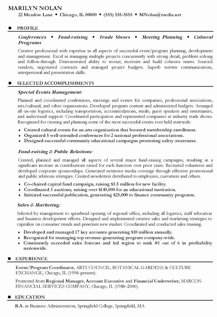 Event Coordinator assistant Resume Best Of event Program